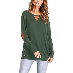 Mupoduvos Lässig Um Den Hals Pflaster Lose Frauen Ein T - Shirt - Tee - Bluse Green S