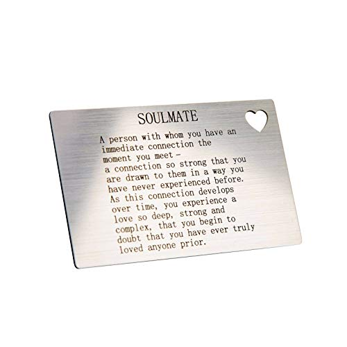 Engravity Soul Mate Quote Wallet Card Insert Love Gift For Him/Her Christmas With Heart Cut Out Design