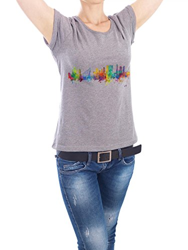"""Design T-Shirt Frauen Earth Positive """"Rotterdam Watercolor"""" - stylisches Shirt Städte Reise Architektur von Michael Tompsett Grau"""