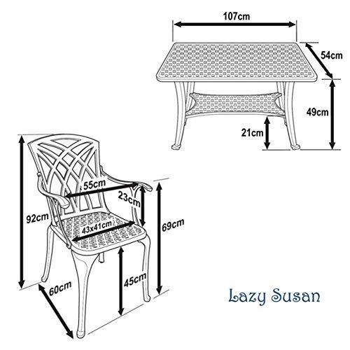Lazy Susan – CLAIRE Rechteckiger Garten Beistelltisch mit 1 APRIL Gartenbank und 2 APRIL Stühlen – Gartenmöbel Set aus Metall, Antik Bronze - 6