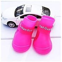 HVTKL Pet rain boots Fluorescent latex rain boots Pet dog shoes non-slip waterproof puppy shoes cover rain boots Teddy (Size : S)