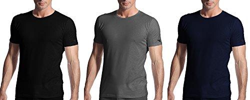 3 t-shirt uomo mezza manica puro cotone girocollo DIADORA underwear art. 6067 Nero/Blu/Grigio