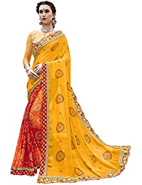 Gaurangi Creation Chiffon Saree With Blouse Piece (SGN10008_Yellow_Free Size)