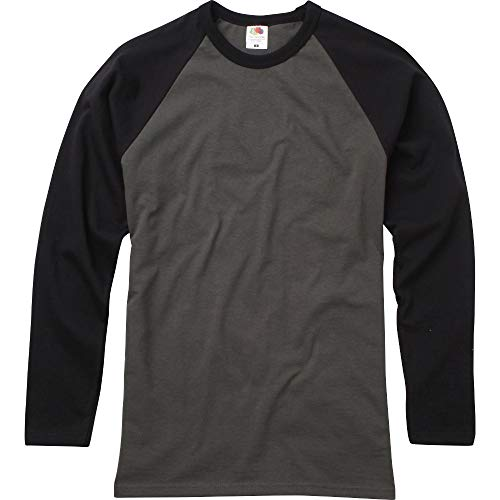 Fruit Of The Loom Mens Long Sleeve Baseball Cotton T-Shirt -