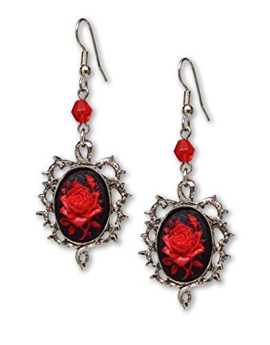 Gótico rosa roja Cameo Pendientes Rodeado de espinas con rojo cuentas