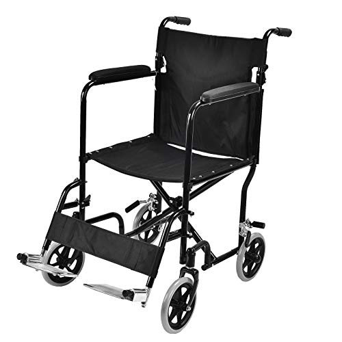 Uenjoy Rollstuhl Klappbar Leichter Reiserollstuhl Transportrollstuhl mit Bequemer Sitz,Rückenlehne,fußstützen,Schwarz -