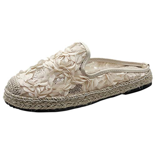 Ears Frauen Sommer Flat Bottom Single Schuhe Casual Flower Straw Schuhe Weben Schuhe Beiläufig Böhmische Schuhe Plus Größe Römische Schuhe Vintage Strand Sandalen Flache Fußschuhe -