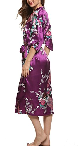 Damen Morgenmantel Kimono Robe Bademantel Nachtwäsche Lange Stil Lila