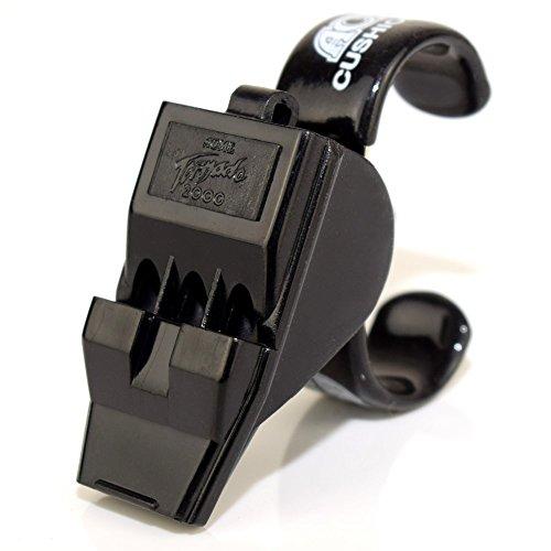 ACME T2000 Tornado mit Fingergrip, schwarz - Geeignet als Sportpfeife, Schiedsrichterpfeife, Notrufpfeife und Signalpfeife