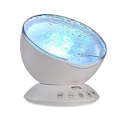 FUNXS Meerjungfrau Dekor Fernbedienung Nachtlicht Ocean Wave Projektor 7 bunte Decke Stimmung Lampe mit Bulit-in Lautsprecher Musik-Player für Baby Erwachsene Schlafzimmer Wohnzimmer (Farbe : White) (H1 Led-projektor-lampe)