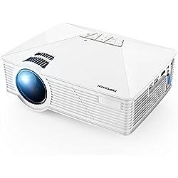DBPOWER GP15 Mini Proyector Portatil de 1800 Lúmenes, LED Vídeo Cine Proyectores Soporta 1080P para Multimedia Teatro en Casa con Entradas de HDMI USB SD VGA Compatible con Laptops, Juegos, blanco