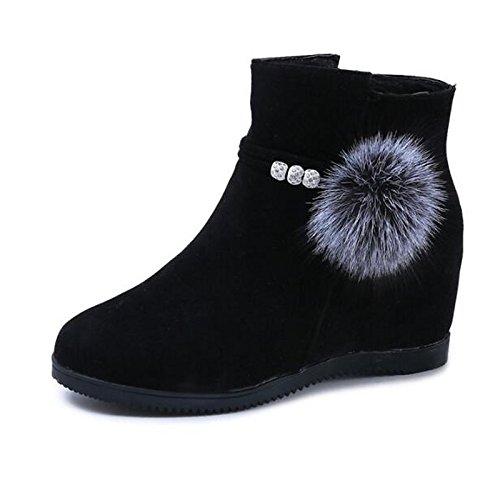 HSXZ Scarpe donna pelle Nubuck caduta molla Comfort Bootie scarpe tacco a cuneo Round Toe stivaletti/stivaletti di abbigliamento casual rosso marrone nero Red