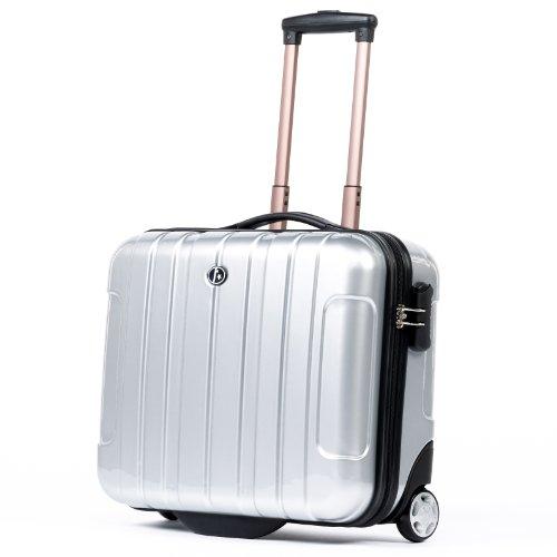 FERGÉ Pilotenkoffer Paris Silber Business-Trolley mit Akten & Laptopfach Handgepäck-Koffer Kabinentrolley 2 Rollen