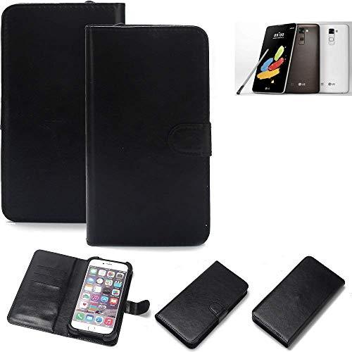 K-S-Trade Wallet Case Handyhülle LG Stylus 2 DAB+ Schutz Hülle Smartphone Flip Cover Flipstyle Tasche Schutzhülle Flipcover Slim Bumper schwarz, 1x