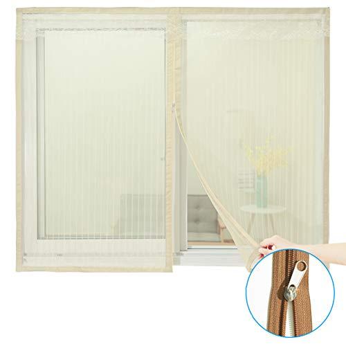 WYMNAME Reißverschluss Bildschirm mesh fenstervorhang, Moskitonetz für fenster Moskitonetz mesh screen protector Für fenster und türen-Beige 120x120cm(47x47inch)
