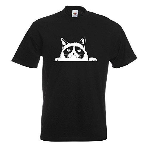 KIWISTAR - mürrische Katze T-Shirt in 15 verschiedenen Farben - Herren Funshirt bedruckt Design Sprüche Spruch Motive Oberteil Baumwolle Print Größe S M L XL XXL Schwarz
