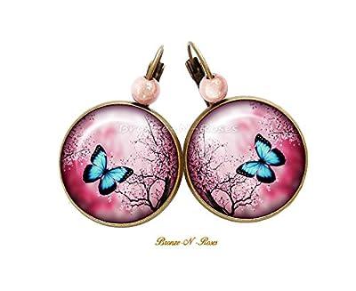 Boucles d'oreilles Papillon bleu fleur fuchsia verre bronze verre dormeuses