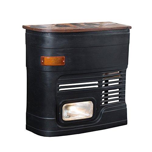 Hausbar Original matt schwarz inkl. Lichtanlage Oldtimer Bar Bartresen Tresen Tresentisch halbe LKW Front rechte Seite