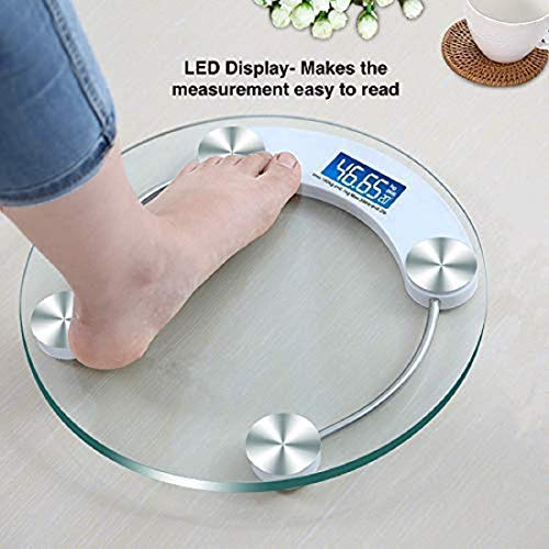 Generic Electronic Thick Tempered Glass & LCD Display Digital Personal Bathroom Health Body Weight Weighing Scales For Body Weight, Weight Scale Digital For Human Body(Round-Shape))