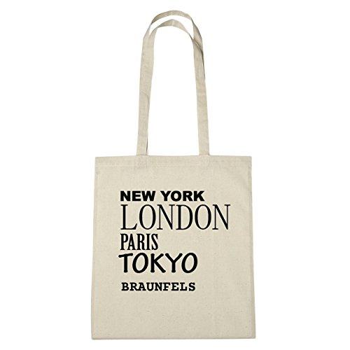 JOllify Braunfels di cotone felpato b2317 schwarz: New York, London, Paris, Tokyo natur: New York, London, Paris, Tokyo