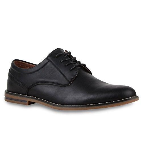 Klassische Herren Halbschuhe | Business Schuhe Schnürer | Schnürschuhe Leder-Optik | Basic Look Schwarz Amares