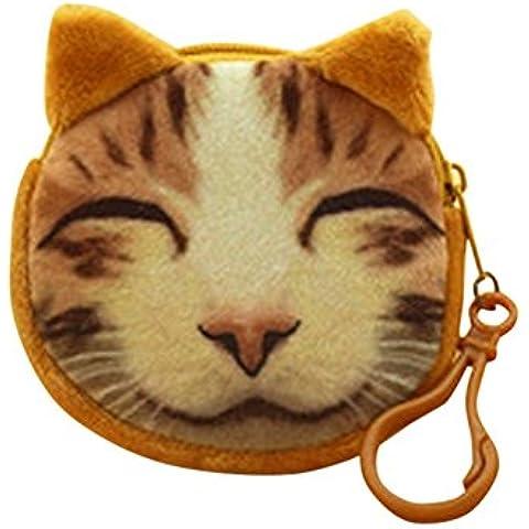 Drasawee 3d con diseño de cara de gato de peluche bolso cartera monedero moneda dinero bolsa bolsa