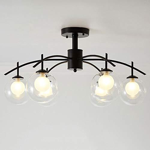Liunce Rústico industrial Vintage 3-5-6-8-Luces Isla de la cocina Araña Triple G9 Hierro Metal Colgante Techo Accesorio de iluminación de techo con cristal redondo transparente Sombra de globo (Negro)