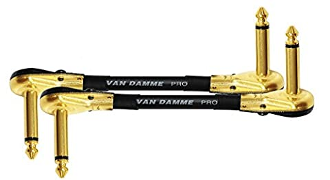 2 Units - Van Damme Pro Grade Classic XKE - 4 Inch (10 cm) – S-Shaped, Premium, Ultra-Flexible Multi -Shielded Guitar Bass Effects Instrument, Patch Cable - with Premium Gold Plated ¼ inch (6.35mm) Low-Profile, Right Angled Pancake type TS Connectors (this S - Shaped cable is also known as a