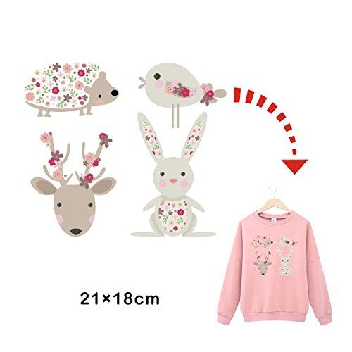 Pegatinas infantiles transfer parche termoadhesivo animales dulces para pijamas, sudaderas, camisetas, canastillas...21 X 18 cm. de OPEN BUY