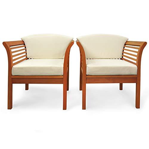 Indoba Designer Garten Stuhl 2er Set inkl 4 Sitzauflagen Holzstuhl für Gartentisch Holzstühle