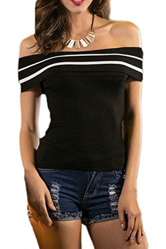 Damen Kurzarm Hülse aus der Schulter stricken T-Shirt Black1
