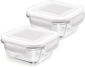 Treo By Milton Store Fresh Square Glass Storage Container Set, 300ml, Set of 2, Transparent