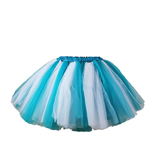 Honeystore Damen's Mini Tutu Ballett Mehrschichtige Rüschen Unterkleid Weiß Türkis
