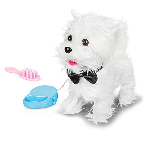 Tobar - 28778 - Peluche animée chien blanc westie à promener, Collection Animigos