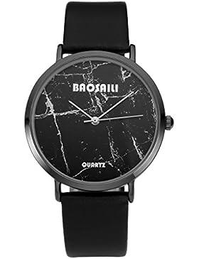 JSDDE Uhren,Fashion Cool Unisex Armbanduhr Schwarz Marble Marmor Muster Armbanduhr Lederarmband Annalog Quarzuhr...