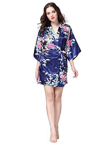 Accappatoi Pigiama Vestaglie Kimono Donna in Raso Con Cintura Corto Camicia da Notte con Cintura Stampa Pavone y Fiore Blu navy