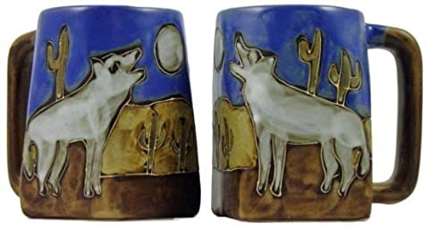 One (1) MARA STONEWARE COLLECTION - 12 Oz Coffee Cup Collectible Square Bottom Mug - Howling Wolves / Desert