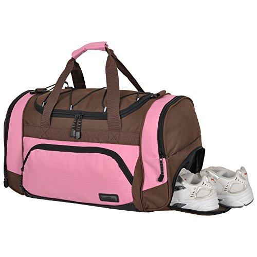 Die durchdachte Sporttasche KEANU Fitness Yoga Sauna mit XL Getränkenetz :: grosse multifunktionale Tasche für Gym Sport Sauna Reise Wellness :: Reisetasche - Auswahl Rosa Braun