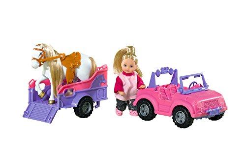 Simba 105737460 - Evi Love Puppe im Jeep mit Pferd und Hänger