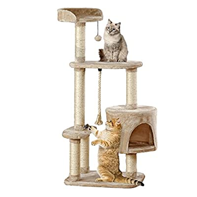 Your Home Multi-Level Cat Tree Tower Scratching Post Large Deluxe Pet Activity Centre with Bed & Lounger