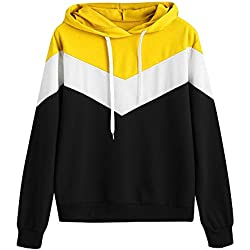 OVERMAL-1 Sweat-Shirts Femmes Vetement Automne Mode Sweat à Capuche Splice Manches Longues Chemise Fille Pullover Jumper Hoodie Sweat Tops