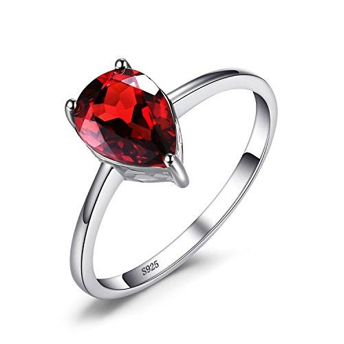 Jewelrypalace 1.4ct Tropfenschliff Rot Natürliche Garant Ring Solitärring Damen Geschenk 925 Sterlingsilber