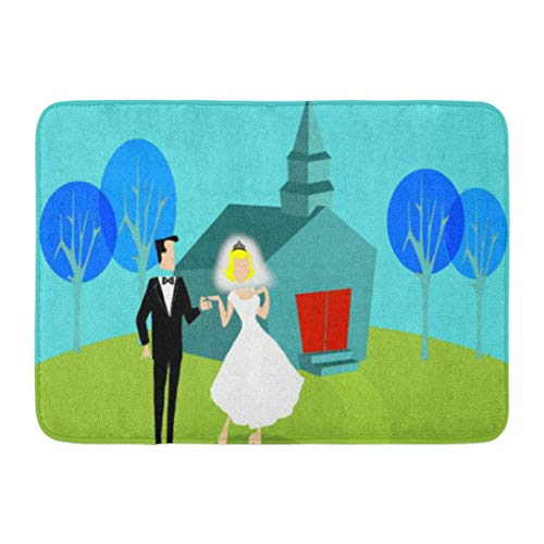 LIS HOME Badematte 1980er Jahre Retro Hochzeitspaar minimalistischen Vintage Just Married Badezimmer Dekor Teppich