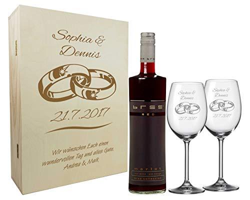 Graviertes Geschenkset zur Hochzeit aus 2 Weingläsern, Weinflasche und Einer Holzkiste, Holzbox mit...