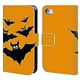 Head Case Designs Offizielle PLdesign Schwarze Fliegende Fledermaeuse Halloween Brieftasche Handyhülle aus Leder für iPhone 4 / iPhone 4S
