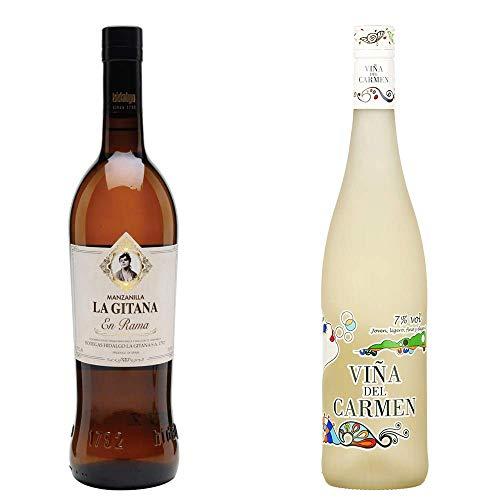Manzanilla La Gitana En Rama Y Viña Del Carmen - D. O. Manzanilla De Sanlúcar De Barrameda Y Vino Blanco - 2 Botellas De 750 Ml