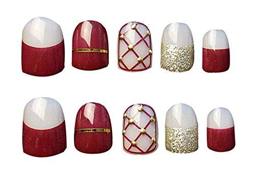 2 Boîtes(48Pièces) Classique style faux ongle/Élégant faux ongle, rouge