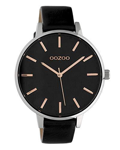 Oozoo Damenuhr mit Lederband 43 MM Silber/Schwarz C10162