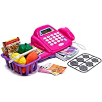 Toys N Smile Cash Register Pretend Play Toy with Basket Including Vegetables, Credit Card, Scanner (Multi Colour)