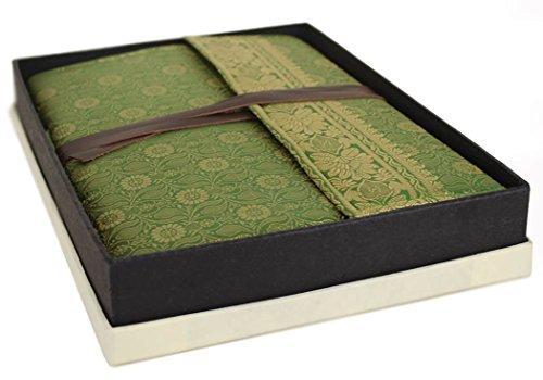 Life Arts Sari Stoff Notizbuch Handgefertigt Olivegrün, A4 Blanko Seiten -